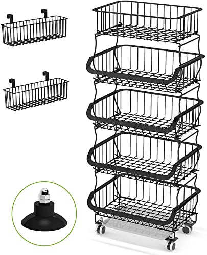 high quality Fruit Basket, 1Easylife 3 Tier Stackable Metal Wire Basket Cart with Rolling Wheels, Utility Rack for Kitchen, Pantry, wholesale Garage, With 2 2021 Free Baskets (5 tier) outlet sale