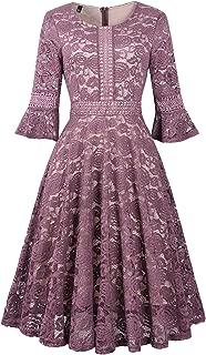 Women's Vintage Full Lace Bell Sleeve Big Swing A-Line Dress
