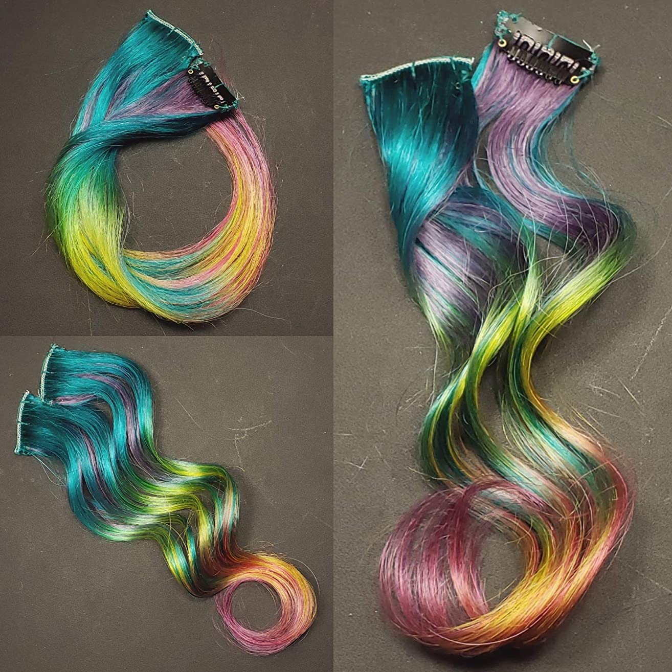 16 inch Enchanted Emerald Rainbow Clip in Human Hair Extensions