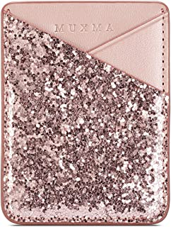 2 Card Slots Wallet Sticker,Glitter 3M Adhesive Purse Sparkling Rose Gold Sleeve Pouch Stick on Phone,Tablets,New iPad Pro,Galaxy Tab,Notebook