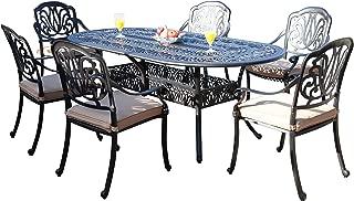 GrandPatioFurniture.com CBM Patio Elisabeth Collection Cast Aluminum 7 Piece Dining Set with 6 Arm-Chairs SH216-6A CBM1290