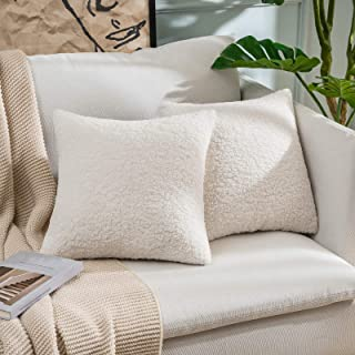 MIULEE Pack of 2 Decorative Cream White Faux Fur Throw Pillow Covers Super Soft Faux Wool Pillow Cases Luxious Cushion Cov...