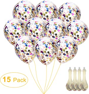 Confetti Balloons 12'' Silver & Gold Glitter Balloons for Mother's Day, Wedding, Proposal, Birthday Party Decorations (Mouth Piece Included, 15 Pack)