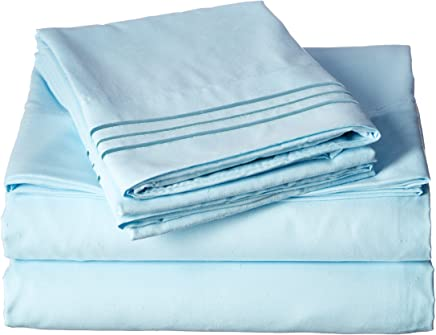 Elegant Comfort Luxury 4-Piece Bed Sheet Set 1500 Thread Count Egyptian Quality Wrinkle, Fade and Stain Resistant Deep Pocket,  HypoAllergenic,  Queen,  Aqua