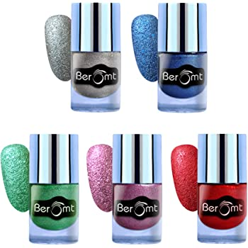 Beromt Sand Effect Nail Polish, Nail Art Effect, Party Girl Nail Paint Combo Gift of 4, 10 ml Each (Silver, Blue, Green, Purple, Red)