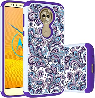 Moto E5 Plus Case, E5 Supra Case, Yuanming Hybrid Dual Layer TPU & Hard Back Cover Bumper Protective Shock-Absorption & Skid-Proof Anti-Scratch Hybrid Case for Moto E Plus (5th Generation) (Purple)