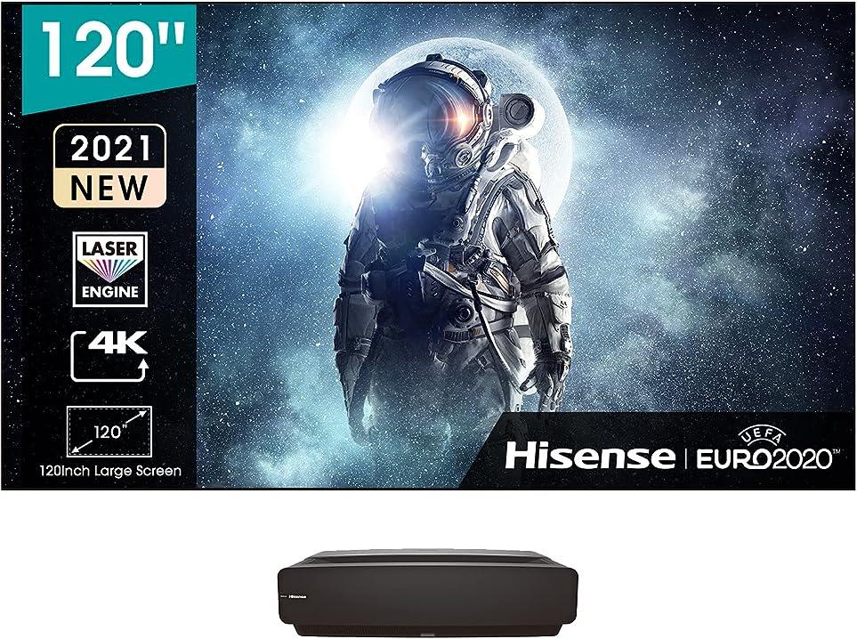Tv 120 pollici hisense lasertv 4k 2021 120l5f-a12 schermo anti-riflesso alr e installazione inclusi 2700 lumen