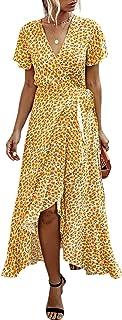 FRAUIT Damen Sommerkleid /Ärmellos Boho A-Line Lang Kleid Maxikleid Party Strandkleid Boho Maxi Summer Beach Lange Cocktailparty Blumenkleid