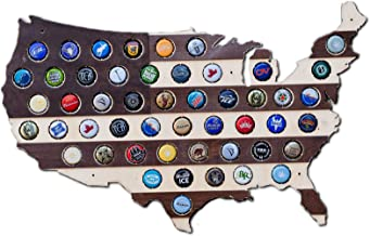 Striped USA Beer Cap Map - Holds 50 Craft Beer Bottle Caps - Guy Gifts (Dark Stripes)