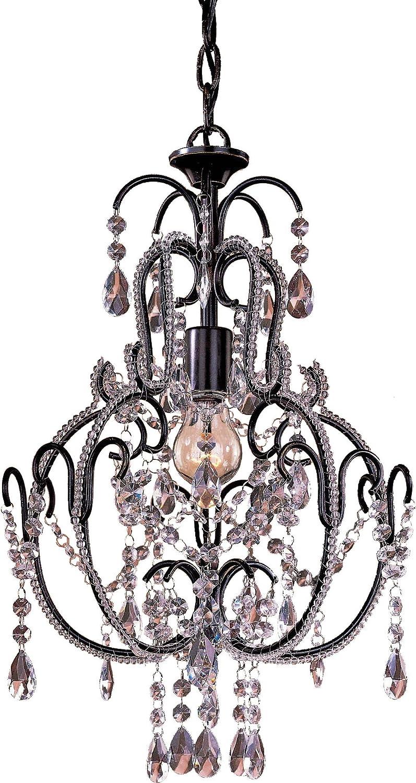Minka Lavery Crystal Chandelier Lighting 3123-489, Mini Candle, 1 Light, 60 Watts, Bronze