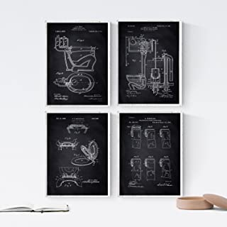 Nacnic Black - Pack of 4 Sheets PATENTS Toilet. Set Posters Inventions Old patents. Choose The Color You Like. Printed on 250 Grams