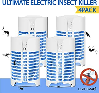 LIGHTSMAX Ultimate Electric Insect Killer - Bug Zapper, Mosquito, Gnat & Fly Repellent Lamp for Indoor & Outdoor Pest Control - Safe, Non-Toxic, Economic & Quiet UV Light Powered Insect Zapper - 4pcs