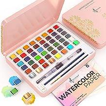 Artistro Vattenfärgsset, 48 livliga färger i tennlåda, inklusive metalliska och fluorescerande färger. Vattenfärg perfekt ...