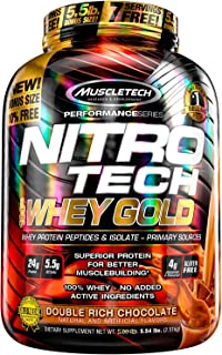 MuscleTech NitroTech Whey Gold, 100% Whey Protein Powder, Whey Isolate and Whey Peptides, Double Rich Chocolate, 5.5 lb