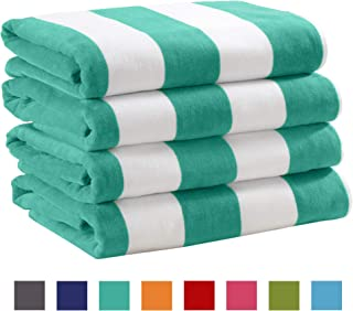 Great Bay Home 4 Pack Plush Velour 100% Cotton Beach Towels. Cabana Stripe Pool Towels for Adults. (Teal, 4 Pack- 30