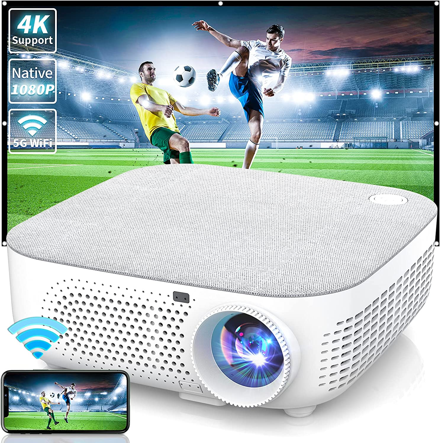 WISELAZER Outdoor Movie Projector 4K,Native 1080P Ultra HD 7500 Lumen Projectors,Dust-Proof, 5G WiFi Video Home Theater Projector Compatible with Smartphone/PC/TV Box/HDMI/USB.