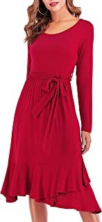 Women's Plain Casual Flowy Long Sleeve Midi Dress with Belt