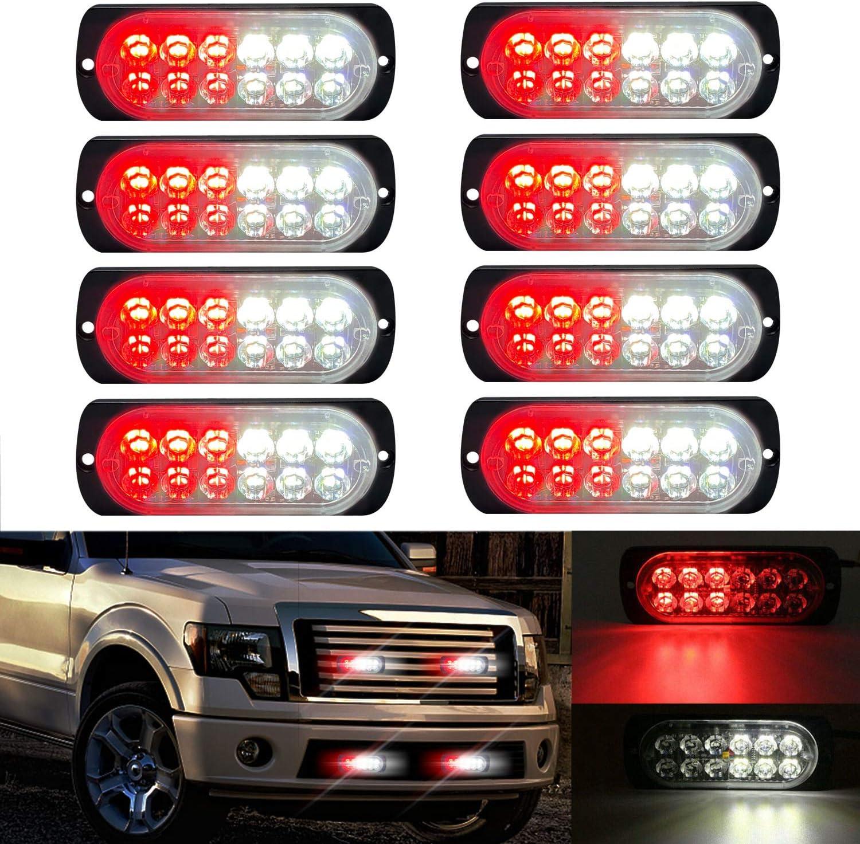 LED Strobe Emergency Lights DIBMS 8x Red Blue 12 LED Surface Mount Strobe Warning Emergency Flashing Light Caution Construction Hazard Light Bar For Car Truck Van Lorry Off-Road Vehicles SUV