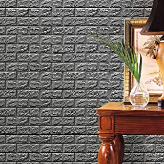Iusun Christmas Embossed Brick Stone Gray Removable 3D Wall Sticker Art PE Foam Wall Decal Wall Paper Decoration for Room Home Nursery Bedroom Office Supplies Gift - Shipping From USA (Gray)