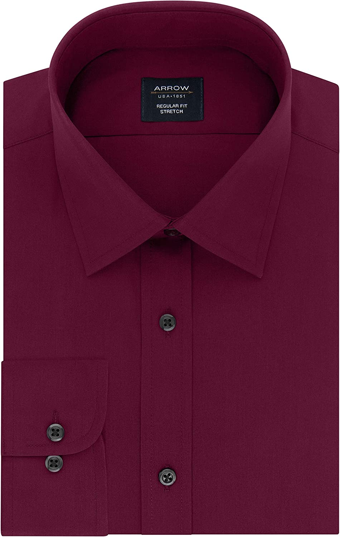 Arrow 1851 Men's Dress Shirt Regular Fit Stretch Poplin Solid
