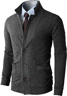 Mens Casual Slim Fit Jacket Cardigans Long Sleeve Button-Down Two-Tone Herringbone