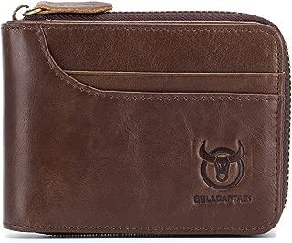 Men Leather Wallet RFID Blocking Vintage Bifold Zipper Wallets for Men