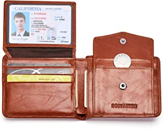 Genuine Leather Wallets for Men Bifold RFID Blocking Wallet with 2 ID Window