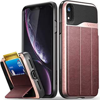 Vena iPhone XR Wallet Case (vCommute) Military Grade Drop Protection Flip Leather Cover Card Slot Holder with Kickstand Compatible with Apple iPhone XR (Rose Gold-Black)