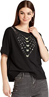 Iconic Women's 2091121 SS24EMBTEE2 Knitted T-Shirt, Black