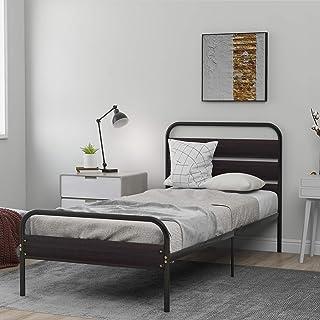 Cadre de lit Lit Simple avec Bois Tache Tête De Lit en Bois Noir Métal Solid Bedstead Base Grand Espace De Rangement pour ...