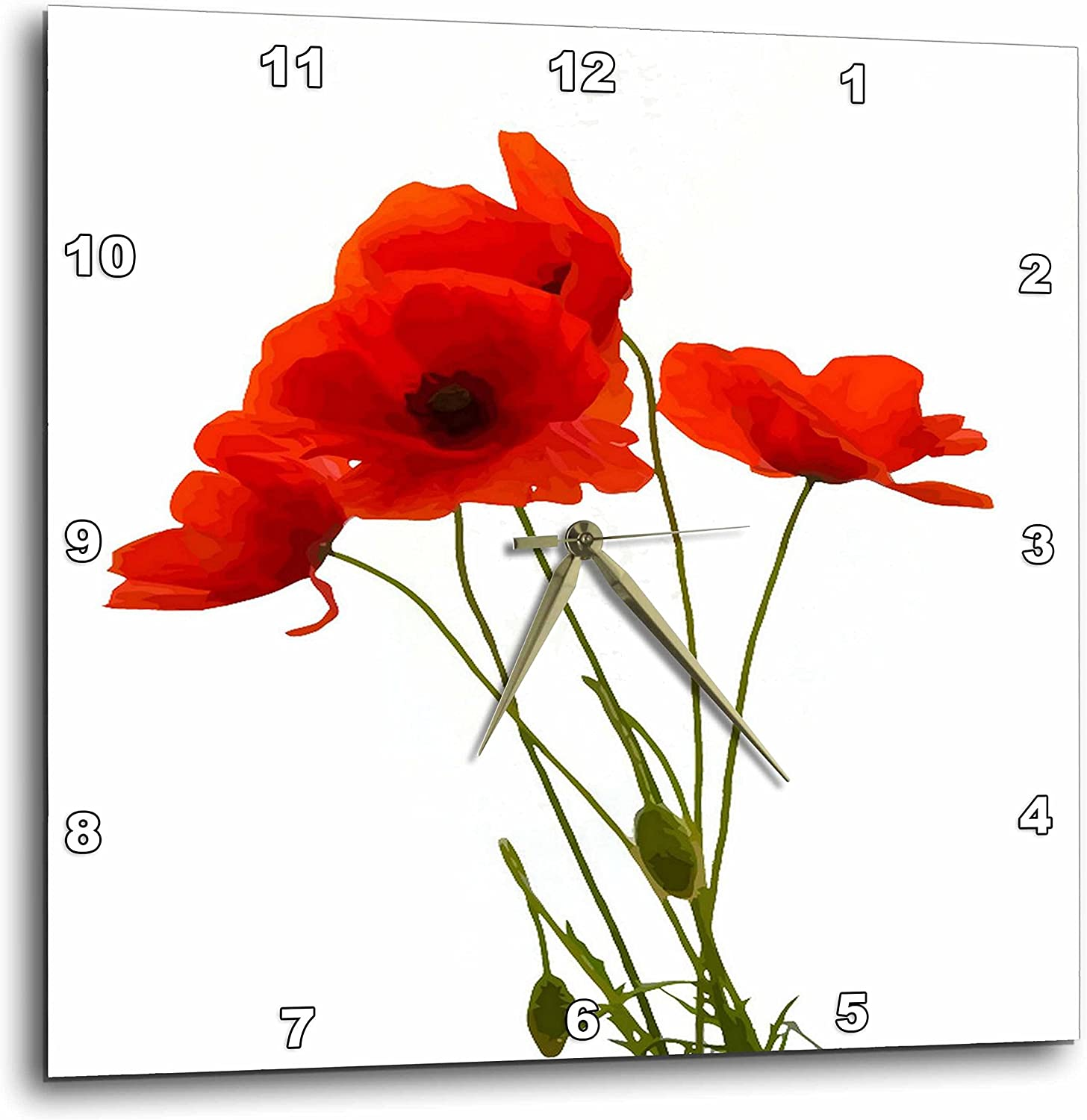 3dpink Delicate Red Poppies Vector - Wall Clock, 13 by 13-Inch (DPP_217331_2)