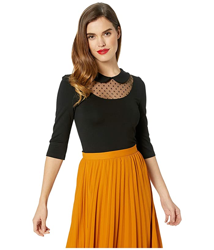 2a0bef26d Unique Vintage Mesh & Swiss Dot Stretch Knit Fitz Top at Zappos.com