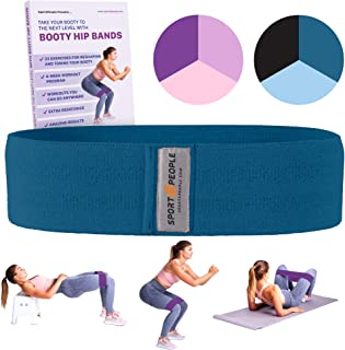 sport2people Booty Bands Free 4-Week Workout Program - Durable Hip Circle Band - Heavy Resistance Squat Bands Leg, Glute, Strength Training, Crossfit, Home Gym, Fitness (Dark Blue M)