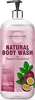 Majestic Pure All Natural Body Wash with Passion Fruit Extract - for Body, Face and Hand - Liquid Soap, Sulfate Free & Par...