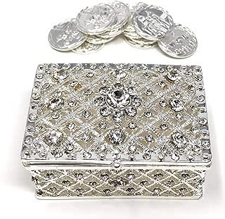 CB Accessories Wedding Unity Coins - Arras de Boda - Chest Box and Decorative Rhinestone Crystals Keepsake 75 (Silver)