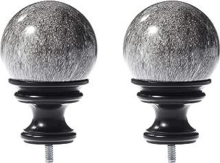 AmazonBasics Grey Marble Ball Curtain Rod Finials, Set of Two, Black