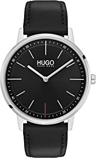Hugo Boss Unisex'S Black Dial Black Leather Watch - 1520007