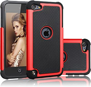 AUMIAU iPod Touch 6 Case, iPod Touch 5 Case Hybrid Dual Layer Shock Absorbin Armor Defender Protective Case Cover (Hard Plastic with Soft Silicon) for Apple iPod Touch 5 6th Generation (Red)