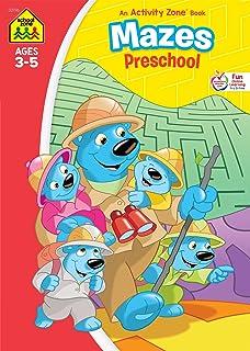 School Zone - Mazes Preschool Workbook - Ages 3 to 5, Preschool to Kindergarten, Maze Puzzles, Colorful Pictures, and More...