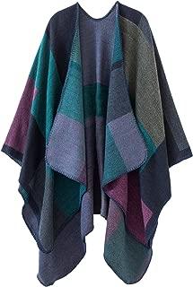 Women's Color Block Shawl Wrap Open Front Poncho Cape