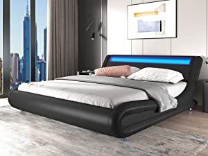 SHA CERLIN Wave-Like Curve Deluxe Upholstered Modern Bed Frame with LED Headboard/Mattress Foundation/No Box Spring Needed/Strong Metal Slats Support/Easy Assembly, Black, Queen