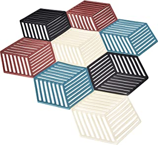 8 Pieces Silicone Trivet Mats Coaster and Hot Pads Hexagon Silicone Placemat Heat Resistant Pot Holder Placemat for Home Kitchen Dining Table Decoration
