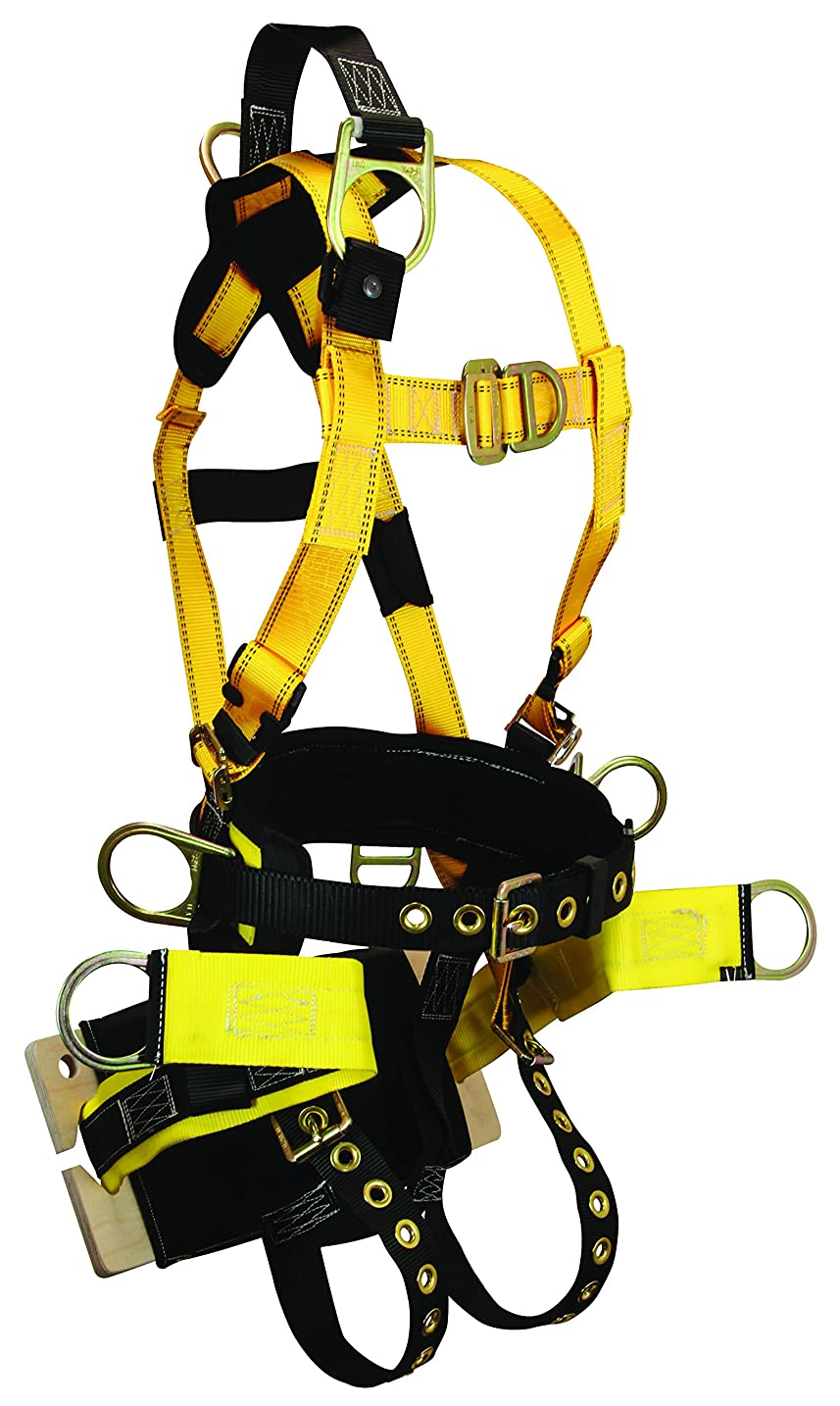 存在ペルセウス病気のFallTech 8001BM RoughNeck Bosun Derrick FBH-7 D-Rings, Back, Side, Front, Seat and Ext., TB Legs and MB Chest, Belt, Bosun Board Seat (Included), Medium, Yellow/Black by FallTech