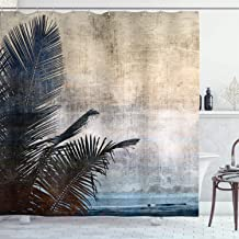 Ambesonne Hawaiian Decorations Shower Curtain Set, Palm Tree Leaves On Grunge Background with Sea Vintage Waterscape Illus...