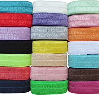 Chenkou Craft 20Yards Elastic Stretch Foldover FOE Elastics for Hair Ties Headbands Variety Color Pack 20colors