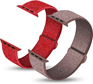 Pack 2 Sport Bands Compatible with Apple Watch 38mm 40mm 42mm 44mm, Lightweight Breathable Soft Sport Strap Replacement Compatible with iWatch Series 1/2/3/4/5/6, SE
