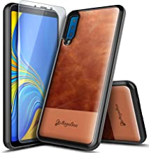 Galaxy A7 2018 Case with Tempered Glass Screen Protector, NageBee Premium [Cowhide Leather] Armor Shockproof Dual Layer Hybrid Rugged Durable Case for Samsung Galaxy A7 2018 (A750) -Brown