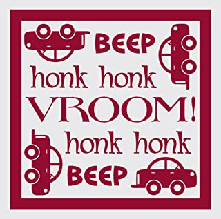 Wall Décor Plus More WDPM1463 Beep Honk Vroom Wall Vinyl Sticker with Car Decal, 23 W x 23 H, Red