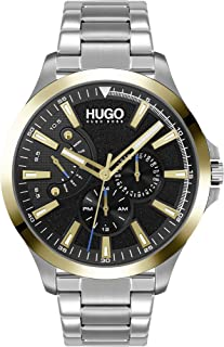 HUGO by Hugo Boss Men's #LEAP Quartz Watch with Stainless Steel Strap, Silver, 22 (Model: 1530174)