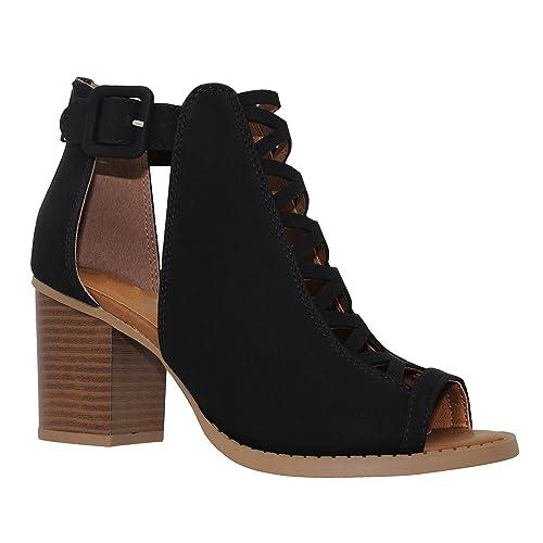 87c204a3e70 MVE Shoes Women s Ankle Open Toe Cutout Heeled-Sandals